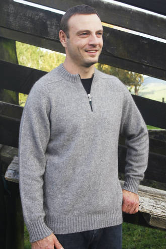 9813 Men's Plain 1/4 Zip Jumper