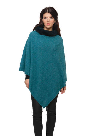 KO523 Fur Trim Zip Poncho