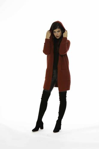 KO531 Hooded Long Line Cardigan
