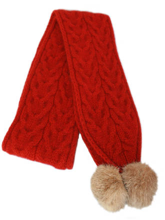 9873 Cable Scarf with Rabbit Fur Pompom