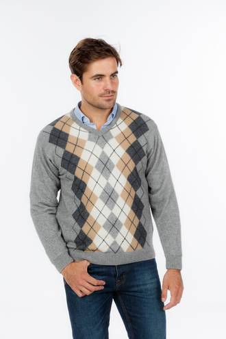 NE305 Vee Neck Argyle Sweater