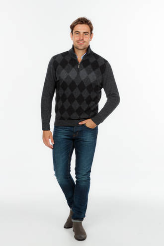 NE400 Diamond Half Zip Sweater - Slim Fit