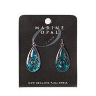MOE114 - Marine Opal Crystal Drop Design Earrings