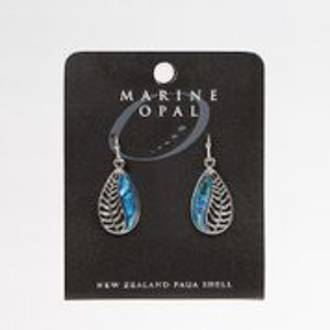 MOE82 - Marine Opal  Fern Design Drop Earrings