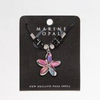 MOP112 - Marine Opal Flower Design with Cord Necklace