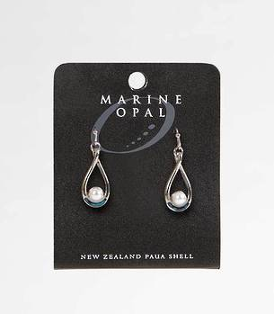 MOE66 - Marine Opal  Pearl Tear Drop Earrings