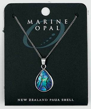 PJS5 - Marine Opal Fine Chain Necklace - Paua Short Tear Drop