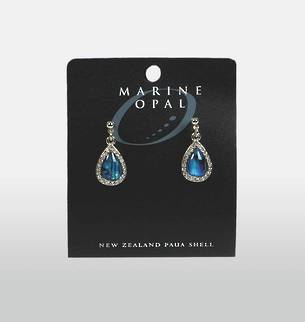 MOE50 - Marine Opal Paua Teardrop with crystals Earrings