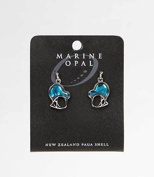 MOE58 - Marine Opal Modern Kiwi Blue Paua Earrings
