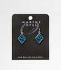 MOE77 - Marine Opal Diamond with V Blue Paua  Earrings