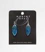 MOE79 - Marine Opal Pointed Oval Earrings with Line Details