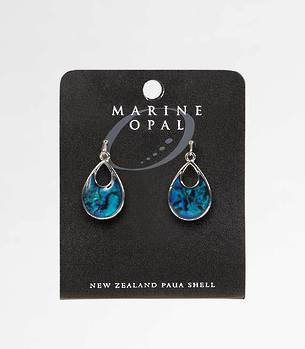 MOE81 - Marine Opal Tear Drop with Open Top Earrings
