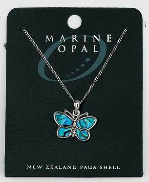 PJS12 - Marine Opal Fine Chain Necklace - Paua Butterfly