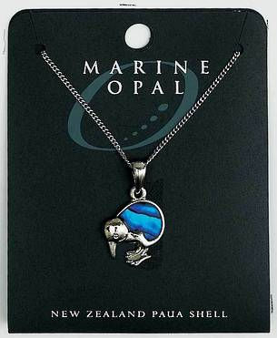 PJS14 - Marine Opal Fine Chain Necklace - Paua Kiwi Blue